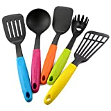 LEMCASE Utensili da Cucina in Nylon/Strumenti di Cottura Set - 5 Pezzi Cucina Helper con Manici in Silicone Colorato
