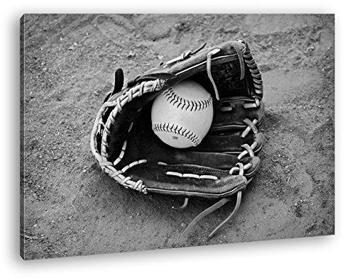 deyoli Softball Handschuh Effekt: Schwarz/Weiß Format: 80x60 als Leinwandbild, Motiv fertig gerahmt auf Echtholzrahmen, Hochwertiger Digitaldruck mit Rahmen, Kein Poster oder Plakat -