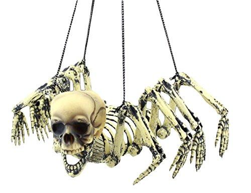 THES Halloween Spinnen Skelett Kunststoff Schädel Geisterhaus ()