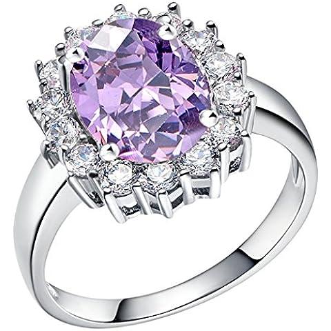 Tailloday 14 mm * 16 mm de plata de Ley de 925 de la joyería de la gran diamante simulado Granate Color de rosa rojo anillo de la joyería de la piedra Amatista para mujer anillos de color