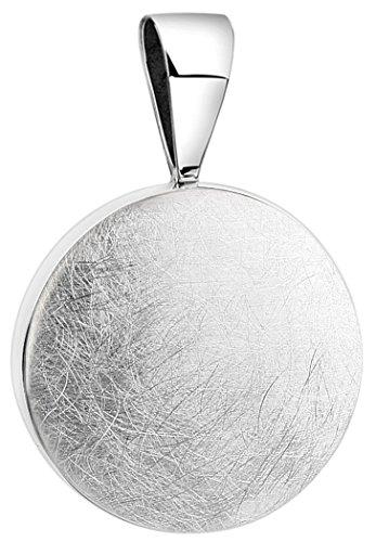 Nenalina Rund Anhänger für Damen Kette oder Halskette gebürstet in 925 Sterling Silber, 361305-390