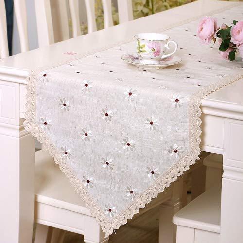 Yazi chemins de table Lin européen brodée en lin Rouge Blanc Fleur, Tissu, blanc, 40x196cm/16x77in