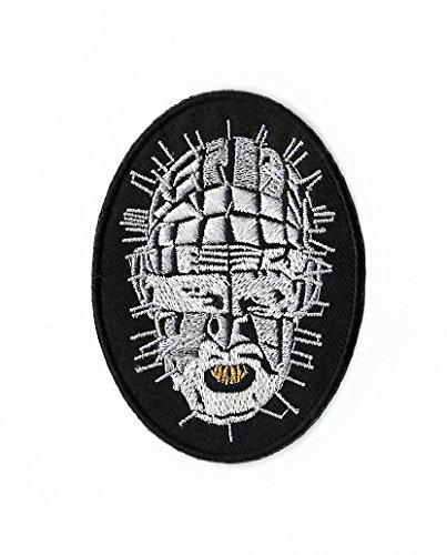 Hellraiser Diy Kostüm (Hellraiser Pinhead Patch (9cm) DIY Nähen oder Bügeln bestickt auf Badge Aufnäher Horror Film Souvenir Monster Leine Cenobite Baumwolle)
