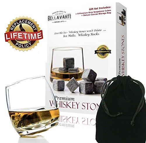 Premium Whiskey Steine-Scotch Rocks-Best Christmas Geschenk-Box Set von 9Whisky Chillen Cubes Deluxe Gift Box - Velvet Bag
