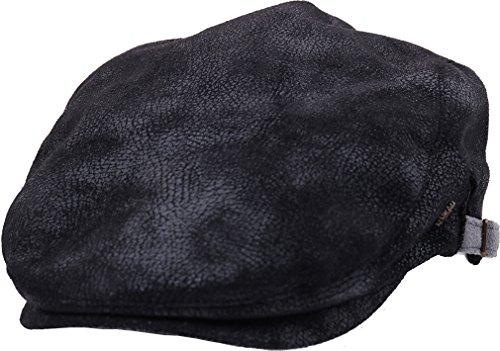 sujii UNCLE SAM Faux Leather Flat Cap Cabbie Hat Golfer Hunter Cap Schiebermütze Chauffeurmütze Schirmmütze Schildmmütze Golfermütze Kappe Hut, XL size/Black (Flats Faux Leder)