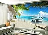 Wemall Carta da parati personalizzata 3D Maldive spiaggia mare albero paesaggio pittura classica carta da parati foto, 350x245 cm (137,8 per 96,5 in)