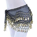 TIFIY Damen Minirock, Wickelgürtel Bauchtanz Rock Mode Silber Tribal Schärpe Tanzrock Splicing Petticoat (A,one Size