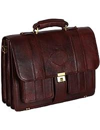 Reo Leather | Laptop Briefcase Bag for Men |15.6'' Laptop Compartment| |Expandable Features| Amiet Push Lock Closure | 22 Liters | Color