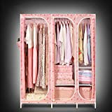 Simple wardrobe / cloth wardrobe steel pipe reinforced steel frame folding large assembly cabinet ( Style : 1 )