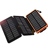 WBPINE Solar Charger 24000mAh, Solar Power Bank Waterproof Dual USB Output with 3