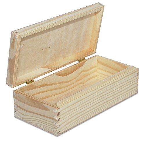 Creative Deco Petite Boîte de Rangement en Bois | 24 x 11,3 x 7,2 cm | Non Peint Caisse avec Fermoir en Bois | Parfait pour Stockage, Objets de Valeur, Jouets et Outils