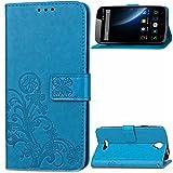 Kihying Hülle für Doogee X6 / Doogee X6 Pro Hülle Schutzhülle PU Leder Flip Wallet Fashion Geschäft HandyHülle (Blau - SD03)