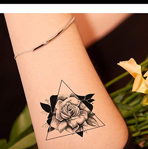 Lfvguiop nero 3d rose tatuaggi temporanei donne braccio mani tatuaggio falso adesivi ragazze geometrica fiore acqua trasferimento tatuaggi foglia pcs 4