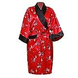 Kimono en satin réversible Rouge/Noir, peignoir, robe de chambre, origine Thaïlande (L)