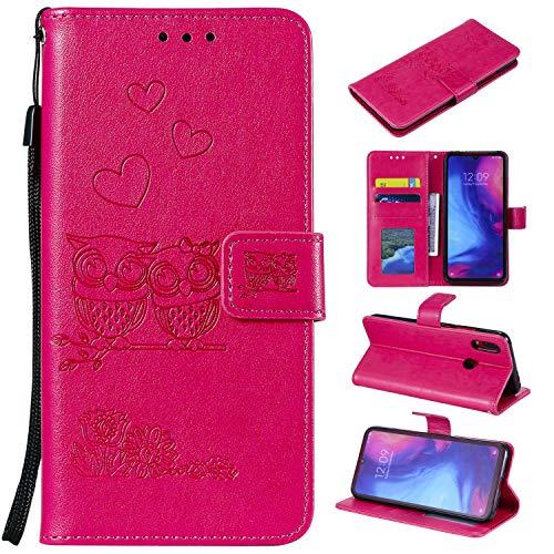 MOONESS Funda Xiaomi Redmi Note 7,Rojo PU Cuero Flip Folio Multi-ángulo búho Carcasa [Magnético] [Soporte Plegable] [Ranuras para Tarjetas] para Xiaomi Redmi Note 7 (O-Rojo)