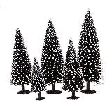 D DOLITY 5pcs Cèdre Arbres Miniatures Modèle Arbre Hiver Déco Bâtiment Forêt Miniature