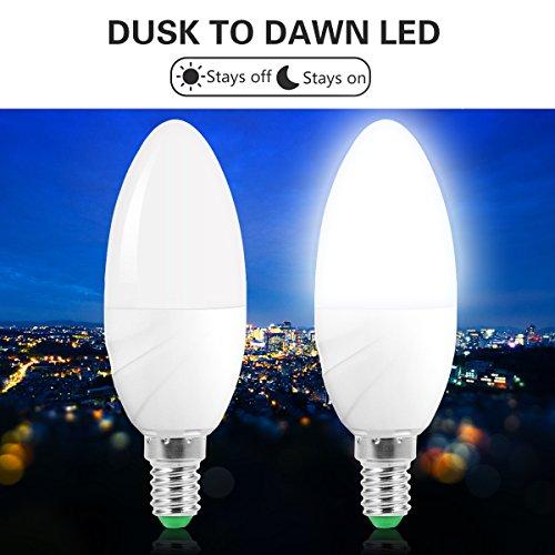 Jandcase 6W LED sensore lampadina lampadine a candela, E14, luce notturna alba-tramonto lampadine, equivalente a 60W bianco freddo 6000K, 550lumen, lampadina LED auto ON/OFF, Smart indoor/outdoor lampada illuminazione per garage, corridoio, confezione da 2
