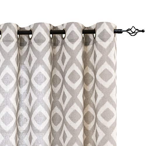 jinchan Leinenstruktur-Vorhänge, geometrisches Muster, Ösen, für Wohnzimmer, Schlafzimmer, Fenster, 2 Paneele Modern 95' L| Pair grau