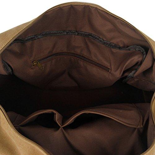 NiSeng Damen Herren Vintage Canvas Weekender Tasche Reisetasche Canvas Sporttaschen Khaki