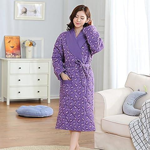 WSLOVEHHY 3 capas gruesas de algodón suave hembra carpeta Housecoat Albornoz bata estilo cálido invierno ,M, flores púrpura