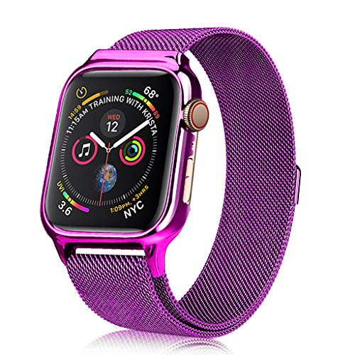 3C-LIFE 40mm Stainless Steel Milan Loop Band with Dial Case for Apple Watch, UV Painted Replacement Band with Protective Bumper Case Compatible with iWatch Series 4(Purple)