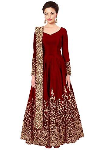 Ethnic Yard Designer Embroidered Tafeta Silk Bridal Anarkali Salwar Suit For Woman...