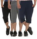 #4: ELK Mens's Cotton Three Fourth Shorts Capri Trouser Clothing 3 Color Set Combo