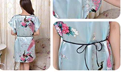 Ghope Damen Lässige Weiche Kunstseide Bademantel Nachtwäsche Coverup Für Frauen Morgenmantel kurzer Kimono Nachtmantel Hell Blau