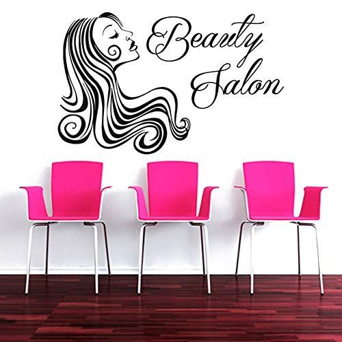 HULINJI Schönheitssalon Zeichen Wandtattoo Make-up Frau Haar Gesicht Wandaufkleber InteriorCosmetic Hairdressing Decor DIY - Make-up Gesicht Zu Glühen