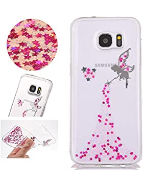Sycode Galaxy S7 Glitzer Hülle,Galaxy S7 Handyhülle,Transparent Crystal Glitzer Bling Rose Rot Fee Fairy Mädchen...