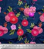 Soimoi Bleu Mousse Georgette en Tissu Dot, Feuilles et Fleurs Artistique Tissu a Coudre Imprime par Metre 42 Pouce Large