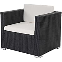 Canapé / fauteuil modulaire ROM Basic, polyrotin, 75x80x71cm ~ anthracite