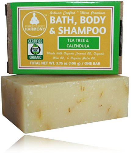 Organic Bath, Body & Face Soap * Tea Tree & Calendula (Oils To Fight Acne Causing Bacteria) * (1) 3.75 OZ BAR) * Thick Lather & Amazing Scent *No Chemical Perfumes, Fragrances, Sulfates, or Parabens! by Perfect Body Harmony