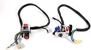 Keenso Universal 1 Paar 7 8 Zoll Motorrad Aluminium Lenker Mit Horn Blinker Start Kontrolle Schalter Auto