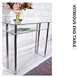 Panana Modern french style long narrow Chrome console table glass shelves Furniture (Clear)