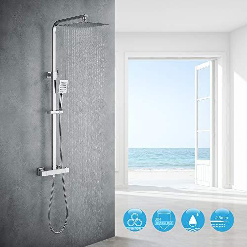 Auralum Chrom Dusche Duschsystem mit Thermostat, 2 Funktionen Duschset Regendusche inkl. Edelstahl Kopfbrause, Handbrause, verstellbarer Duschstange, Duschpaneel Duschgarnitur Duschsäule Duscharmatur