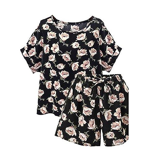 OverDose Women Plus Size 2 Piece Set Floral Loose Top + Shorts