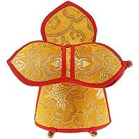 Funda Bolsa para Campana de Budismo Tibetano Nepal Color Amarillo Regalo Decoración - 18 cm de largo