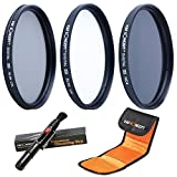 K&F Concept® Objektiv Filterset 62mm UV CPL ND4 Slim UV Filter 62mm CPL Filter 62mm Polfilter 62mm ND4 Filter Graufilter 62mm mit Reinigungsstift und Filtertasche