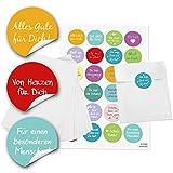 96 kleine weiße Papiertüten Geschenktüten Geschenk-Verpackung (13 x 18 cm) und 96 runde Aufkleber Sticker Liebe Sprüche Freundschaft Verpackung Geschenk give-away