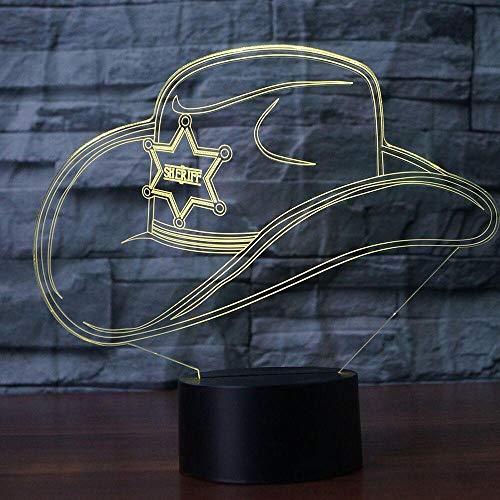 YDBDB Nachtlicht Kreative 3D Bunte Led Farbverlauf Cowboy Hut Kappe Usb Kinder Schlaf Schlafzimmer Nacht Dekor Leuchten Schreibtisch Tischlampe