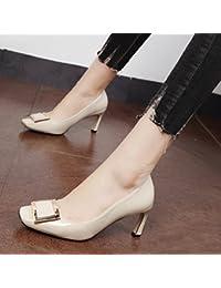 Xue Qiqi Ligero, compacto y elegante de metal para atar un zapato con un cuadrado de banano, y el alto-Heel Shoes...