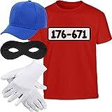Kids Panzerknacker KOSTÜM + MÜTZE + Maske + Handschuhe Kinder T-Shirt 9-10 Jahre (140cm) Rot
