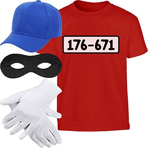 OSTÜM + MÜTZE + Maske + Handschuhe Kinder T-Shirt 7-8 Jahre (128cm) Rot ()