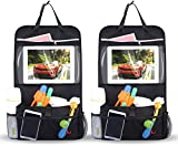 INTEY Car Seat Organiser Multi-Pocket Travel Storage With Touch Screen iPad Holder (2 Pack)