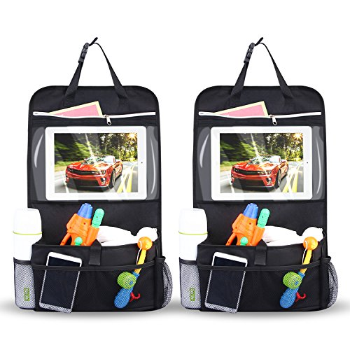 INTEY 2 Pack Car Back Seat Organiser Multi-Pocket Travel Storage With Touch Screen iPad Holder (Black)