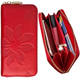 Best Kyocera T Mobile Phones - CellularOutfitter Leather Clutch/Wallet Case - Embossed Flower Design Review