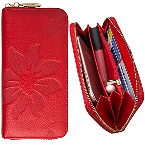 CellularOutfitter Leather Clutch/Wallet Case - Embossed Flower Design w/ Multiple Card Slots and Compartments - Red