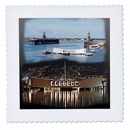 3dRose QS 107070_ 4USS Abraham Lincoln, USS Arizona Memorial (Tag und Nacht) Pearl Harbor-Quilt Platz, 12von 12Zoll Memorial Quilt