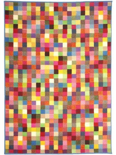 benuta Alfombra moderna Pixel Swing Multicolor 160x230 cm - 100% Polipropileno - Rombos / Cuadros - Tejido a máquina - Cuarto de estar